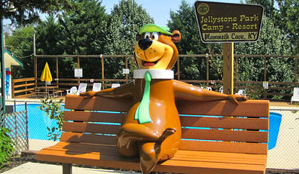 Yogi Bear sitting on a bench at Jellystone Camp ground in Mammoth Cave, Ky